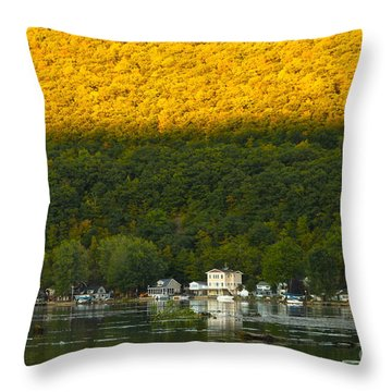 Sunset On Canandaigua Lake Throw Pillow by Steve Clough