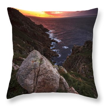 Throw Pillow featuring the photograph Sunset On Cape Prior Galicia Spain by Pablo Avanzini