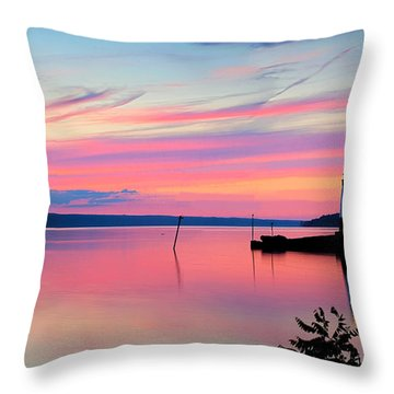 Sunset On Cayuga Lake Ithaca New York Throw Pillow