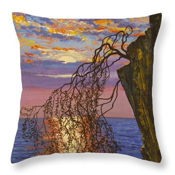 Sunset On Cliff Throw Pillow