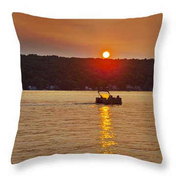 Boating Into The Sunset Throw Pillow