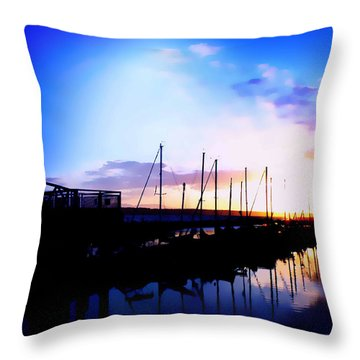 Sunset On Edmonds Washington Boat Marina Throw Pillow