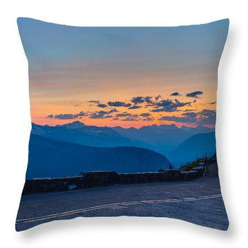 Sunset On Going-to-the-sun Road Throw Pillow