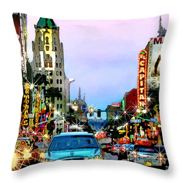 Throw Pillow featuring the digital art Sunset On Hollywood Blvd by Jennie Breeze