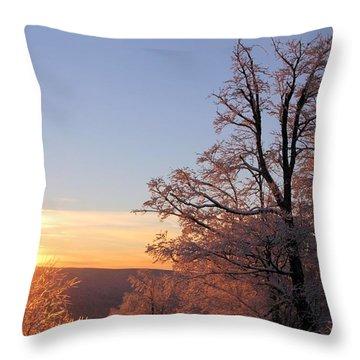 Sunset On Ice Throw Pillow