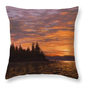 Sunset On Kayak Point Throw Pillow