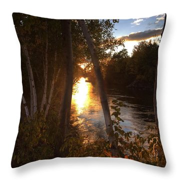 Sunset On Lake  Throw Pillow