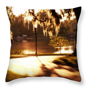 Sunset On Lake Mizell Throw Pillow by Valerie Reeves