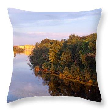 Sunset On Lake Wissota Dam Throw Pillow