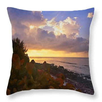 Sunset On Little Cayman Throw Pillow by Stephen Anderson