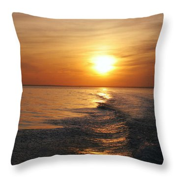 Throw Pillow featuring the photograph Sunset On Long Island Sound by Karen Silvestri