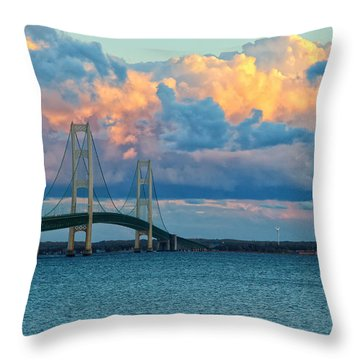 Sunset On Mackinac Bridge Throw Pillow