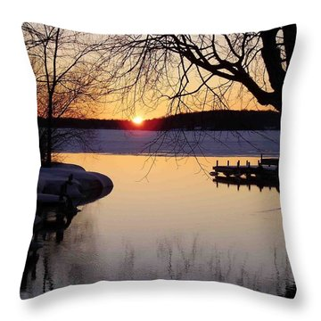 Sunset On Manistique Throw Pillow by Feva  Fotos