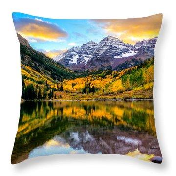 Sunset On Maroon Bells Throw Pillow