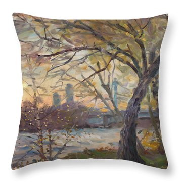 Sunset On Niagara River  Throw Pillow by Ylli Haruni