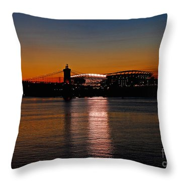 Sunset On Paul Brown Stadium Throw Pillow by Mary Carol Story