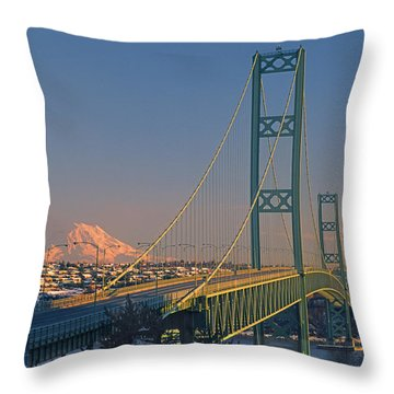 1a4y20-v-sunset On Rainier With The Tacoma Narrows Bridge Throw Pillow
