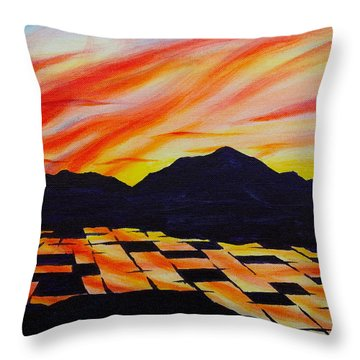 Throw Pillow featuring the painting Sunset On Rice Fields by Michele Myers