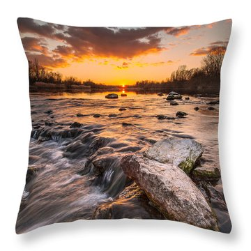 Sunset On River Throw Pillow