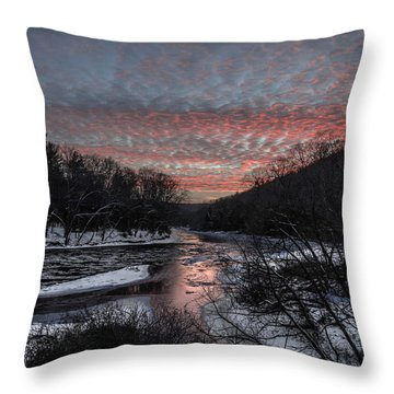 Sunset On River Road Throw Pillow