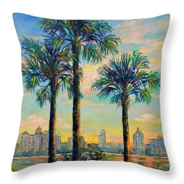 Sunset On Sarasota Bay Throw Pillow by Lou Ann Bagnall