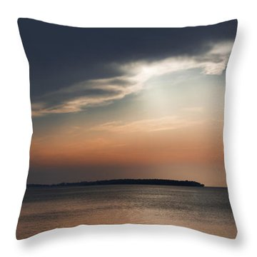 Sunset On Sturgeon Bay - Signed Throw Pillow by Barbara Smith