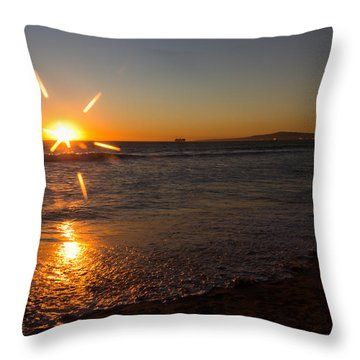 Sunset On Sunset Beach Throw Pillow by Heidi Smith