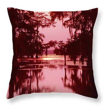 Throw Pillow featuring the photograph Sunset On The Bayou Atchafalaya Basin Louisiana by Dave Welling