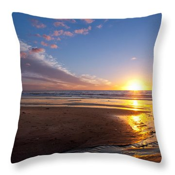 Sunset On The Beach At Carlsbad. Throw Pillow