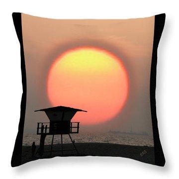 Sunset On The Beach Throw Pillow by Ben and Raisa Gertsberg