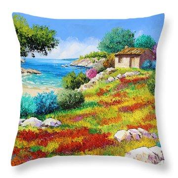 Sunset On The Beach Throw Pillow by Jean-Marc Janiaczyk