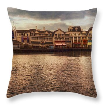 Sunset On The Boardwalk Walt Disney World Throw Pillow by Thomas Woolworth