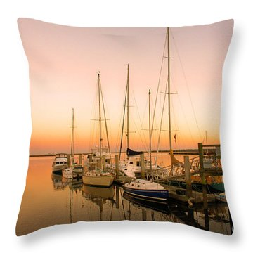 Sunset On The Dock Throw Pillow by Southern Photo