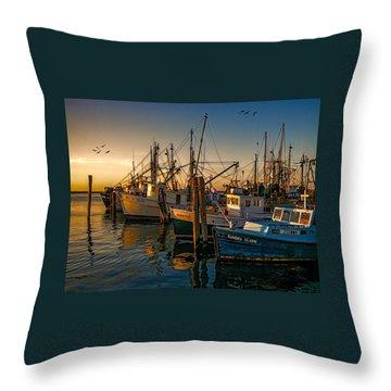 Sunset On The Fleet Throw Pillow