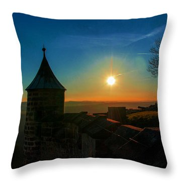 Sunset On The Fortress Koenigstein Throw Pillow
