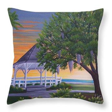 Sunset On The Gazeebo Throw Pillow