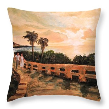 Throw Pillow featuring the painting Island Sunset by Alan Lakin
