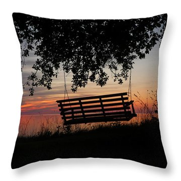 Sunset On The Lake Throw Pillow by Heather Allen