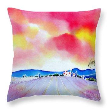 Sunset On The Lavender Farm  Throw Pillow