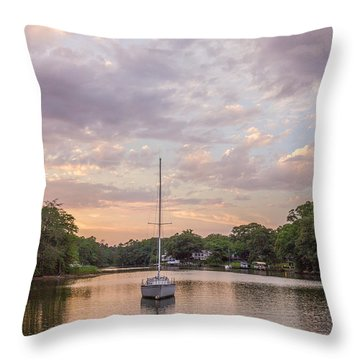 Sunset On The Magothy River Throw Pillow