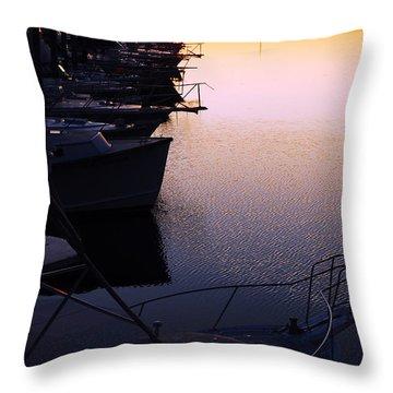 Sunset On The Marina Throw Pillow by James Kirkikis
