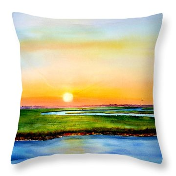 Sunset On The Marsh Throw Pillow