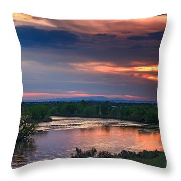 Sunset On The Payette  River Throw Pillow by Robert Bales