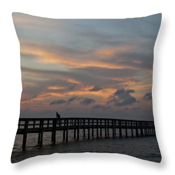 Throw Pillow featuring the photograph Sunset On The Pier by Judy  Johnson