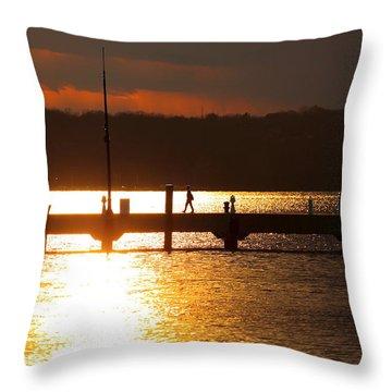 Sunset On The Pier Throw Pillow