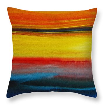 Throw Pillow featuring the painting Sunset On The Puget Sound by Jani Freimann