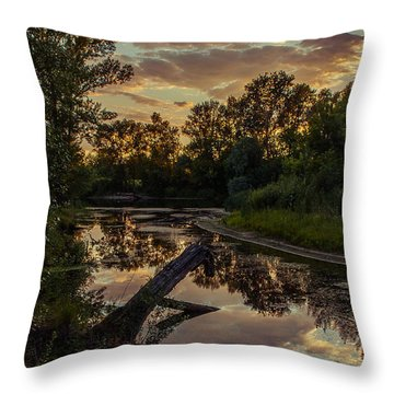 Sunset On The Quiet River Throw Pillow