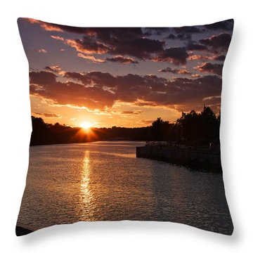 Throw Pillow featuring the photograph Sunset On The River by Dave Files