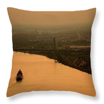 Sunset On The River Throw Pillow by Linda Shafer