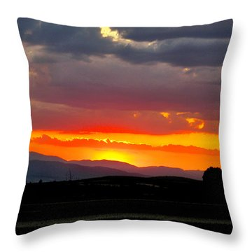 Sunset On The Road Throw Pillow by Zafer Gurel